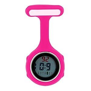 Ellemka – Krankenschwestern Pfleger Chefs   Digitale Anzeige Ansteckuhr Taschenuhr   Digitales Quarzuhrwerk   Hängeband aus Silikon mit Pinnadel   NS-888 – Magenta Fuchsia Geschenkbox