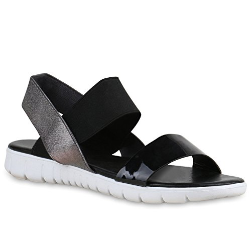 Damen Plateau Sandalen Komfort Bequem Strick Sommer Schleifen Sandale Flach Flats Quasten Schuhe 138384 Schwarz Schwarz 39 Flandell (Socken Komfort Kleid)