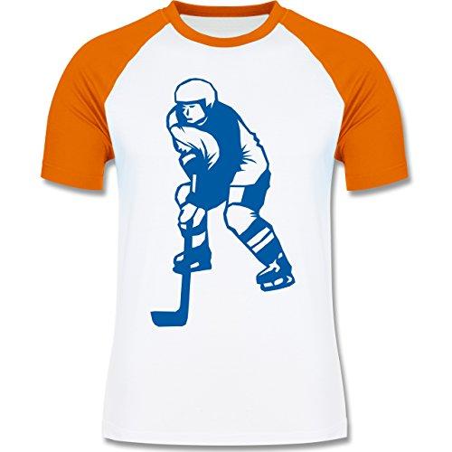 Eishockey - Eishockey - zweifarbiges Baseballshirt für Männer Weiß/Orange