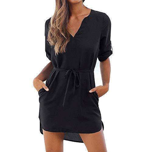 Vertvie Damen Kleider Bluse Langarm Lose V-Ausschnitt Knielang Casual Oversize Longshirt Hemdkleid Tops Strandkleid mit Taschen(S(EU36-38), Schwarz 1) -