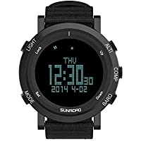 SUNROAD Men's Digital Altimeter Barometer Sports Watch with Compass Pedometer Stopwatch World Time Weather Forcast 5ATM Waterproof LED Wristwatches