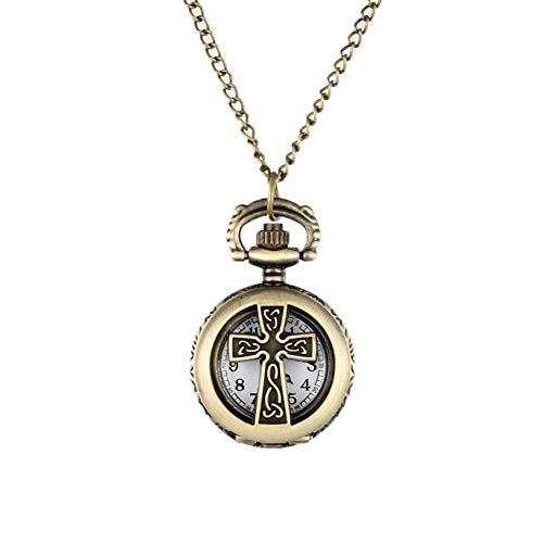 HJKLO Taschenuhr New Vintage Bronze Kruzifix Kreuz Hohl Quarz Taschenuhr Halskette Anhänger Frauen Herren Geschenke, Gold