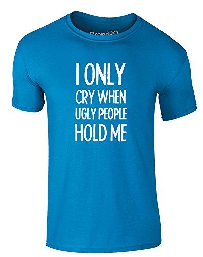 Brand88 - I Only Cry When..., Erwachsene Gedrucktes T-Shirt Azurblau/Weiß