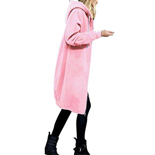 Warme Offen Strickjacke Damen, DoraMe Frauen Reißverschluss Hoodies Sweatshirt Langer Mantel Kapuze Outwear (2XL, Rosa) (Rosa Kapuzen-strickjacke)