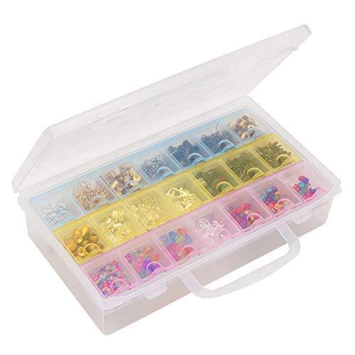 Scatola di perline con 21 griglie - multiuso plastica trasparente organizzatore di archiviazione per piccolo arte mestiere supplies, gioielleria, orecchini, perline, nail art - removibile compartiment