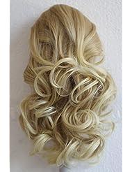 PRETTYSHOP Clip sur l'extension postiche Pièce de cheveux ondulé Look naturel fibres résistant à la chaleur 40cmblonde mix # 27T613 PH208