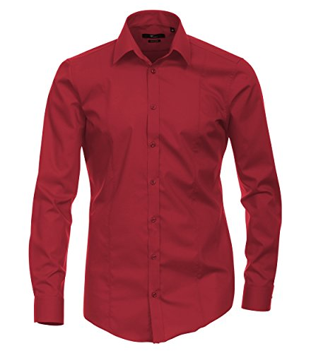 Venti - Body Stretch - Bügelfreies Herren Langarm Hemd in diversen Farben (001470 A) Rot (408)
