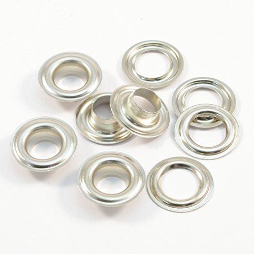 Ösen nach DIN 7332 (selbstschneidend) - für Textil, Stoff, Leder, Planen, Vorhänge, Zelte, 125 Stück (Edelstahl (V2A INOX), 10 mm) (Selbstschneidende)
