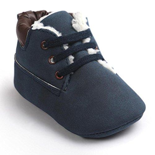 Kingko® Bambino di cotone scarpe morbide Suola di cuoio pattini infantili della ragazza del ragazzo pattini della greppia inverno mantengono i pattini caldi (12~18 mesi, Blu scuro)