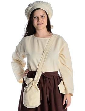 HEMAD - Bolso bandolera pequeño de algodón con efecto lino para ropa medieval, marrón, negro, rojo, verde, azul...