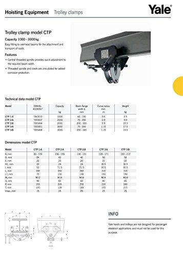 """Yale amz1022767CTP """"Integral Trolley per fascio, Morsetto 3.0T, larghezza fascio: 75mm-200mm"""