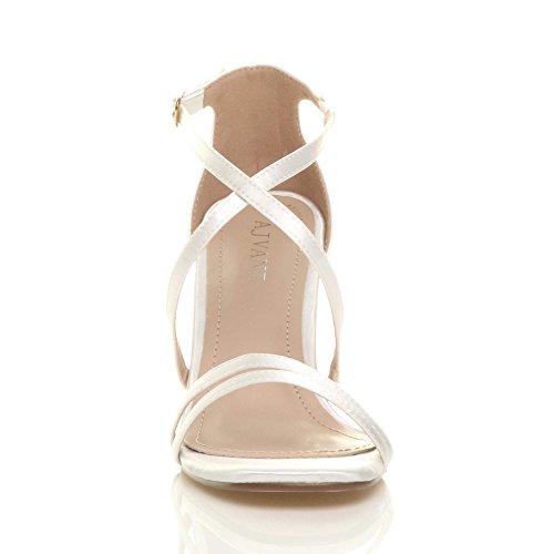 Damen Mittel Hohen Absatz Riemchen Gekreuzten Hochzeit Abend Sandalen Größe Weiß Satin
