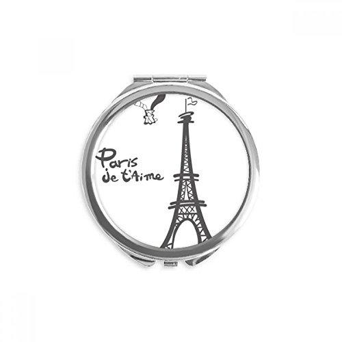 DIYthinker Strichzeichnung Eiffelturm Silhouette Paris Spiegel Runder bewegliche Handtasche Make-up 2.6 Zoll x 2.4 Zoll x 0.3 Zoll Mehrfarbig -