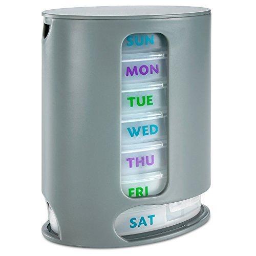 MEDca Wöchentliche Pillendose, 1 Medikamentendispenser, 7 stapelbare Fächer, Vier Mal pro Tag – Morgens, Mittags, Abends und Nachts, Grau