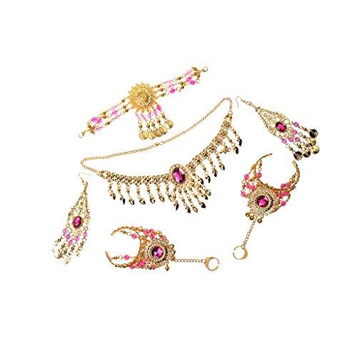 Pendientes Collar Casco Mano Conjunto de Joyas para Damas - Rosa roja