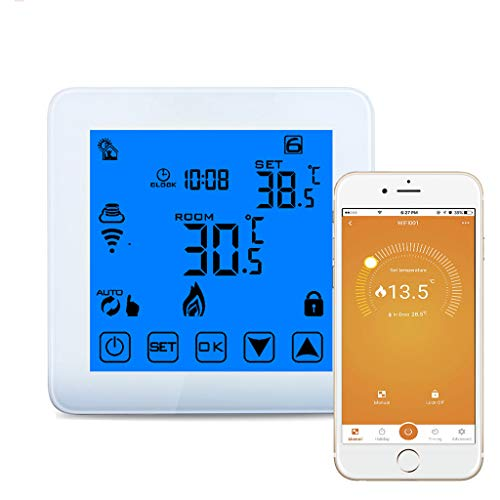 WiFi Smart Thermostat, Intelligenter Wall-gehängte Kessel Elektro-Heizung Thermostat, LCD Screen mit Adjustable Indoor-Temperatur, Arbeit mit mobiler Telefon-Fernbedienung,White