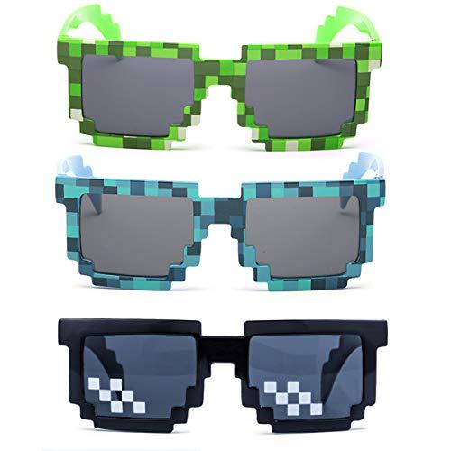 kilofly Sonnenbrille, 8 Bit-Pixel, UV-Schutz, für Erwachsene und Kinder, 3 Stück - Schwarz - Einheitsgröße