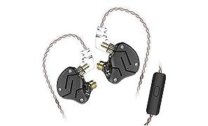 Yinyoo KZ ZSN Alta fidelidad en audífono KZ Auriculares con 1DD + 1BA Dual Driver Auriculares para Todos los Dispositivos de Audio de 3.5 mm (Negro con micrófono)