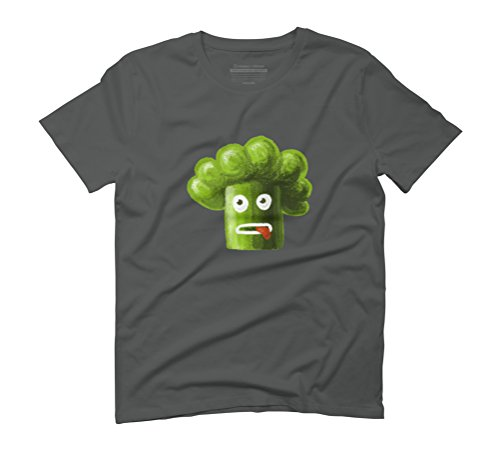 Green Funny Broccoli Men's Graphic T-Shirt - Design By Humans Anthracite
