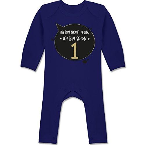 h bin nicht klein, ich bin schon 1 - 12-18 Monate - Navy Blau - BZ13 - Langarm Baby-Strampler / Schlafanzug für Jungen und Mädchen (1 Jahr Alt Geburtstag Ideen)