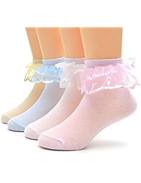 LUOEM 4 Paar Kinder Socken mit Spitze Rüschen für 0-3 Jahre alte Mädchen