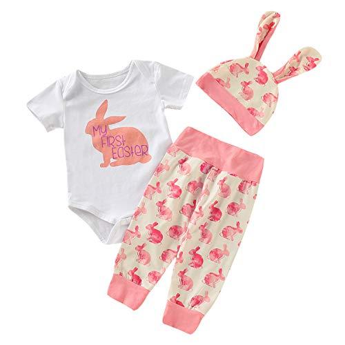 WEXCV Neugeborenes Baby Jungen Mädchen Kurzarm Kaninchen Muster Strampler + Kaninchen Drucken Hosen + Hasenohren Hut Herbst Niedlich 3 StüCk Outfits 0-18 - Mad 3 Stück Kostüm