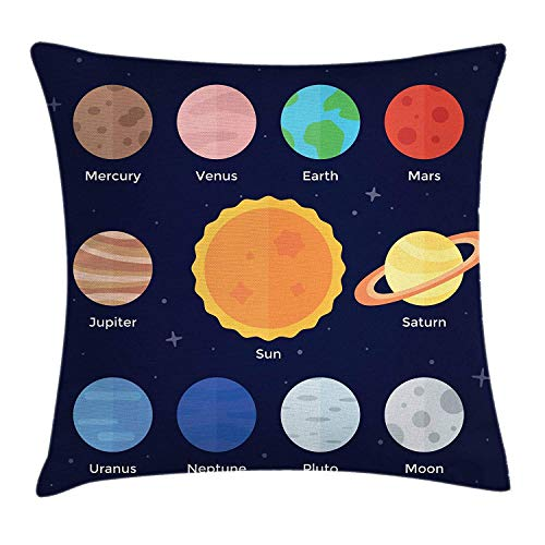 BUZRL Science Throw Pillow Cushion Cover, Cartoon Solar System Planets Moon Around Sun Outer Space Theme School Design, Decorative Square Accent Pillow Case, 18 X 18 inches, Multicolor