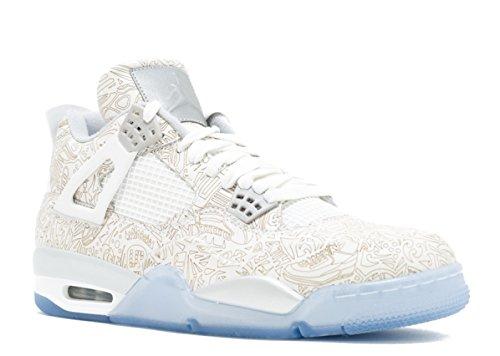 Nike Air Jordan 4 Retro Laser, Zapatillas de Deporte Exterior para Hombre, Blanco/Gris (White/Chrome-Metallic Silver), 40 EU