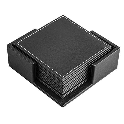 FOKOM 6er Untersetzer Untersatz Tasse Matte Coaster Cup Mat mit Halter-Schwarz