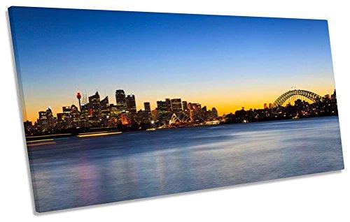 Skyline Sydney Australien City Sunset Box Rahmen Leinwand Kunstdruck Panorama Bild, 80cm wide x 40cm high