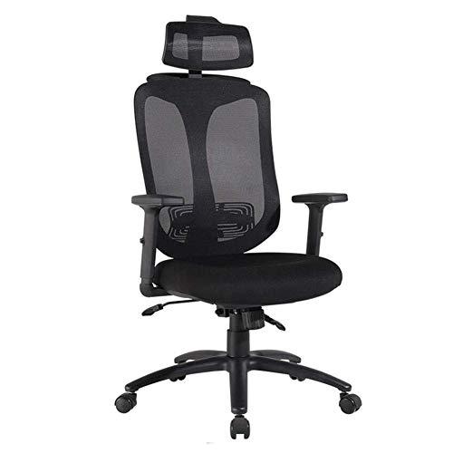 DSHUJC Bürostuhl Ergonomische Schwenker Ineinander greifen-Stuhl Tilt-Funktion Verstellbare Kopfstütze Armlehne Sitzhöhe 45-53cm (Farbe: Schwarz) -