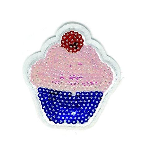 Pink sweet cupcake Dessert Cartoon bestickt Nähen Eisen auf Patch Cartoon Nähen Eisen auf bestickte Applikation Craft handgefertigt Baby Kid Girl Frauen Tücher DIY Kostüm Zubehör