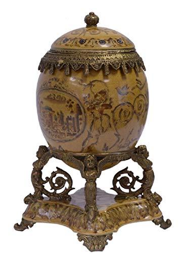 Casa Padrino Barock Porzellan Ei mit Deckel Mehrfarbig/Antik Messingfarben 20,5 x 15,4 x H. 28,3 cm...