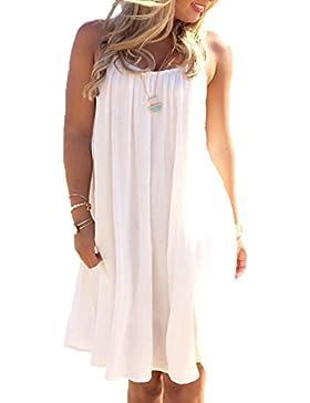 Mujer Moda Verano Vestido Chiffon Camiseta Corto Casual Color Sólido Sun Dress Vestido de Playa Camisa de Vestir...