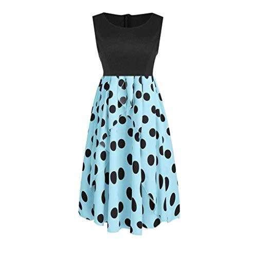 Vimoli Kleid Damen Vintage Kleider Frauenkleid ärmellose Dot Floral Tunika Tank Zipper Röcke(Blau,M)