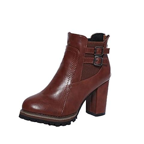 Bottes Classiques Martin Bloc Femme, QinMM Cheville Boots Chaussures Bottines Haute Talons Plate-forme Automne Hiver (EU 34, Brun)
