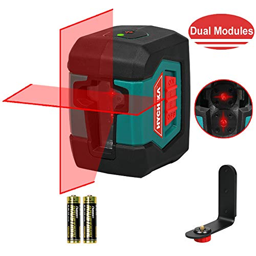 Niveau Laser, HYCHIKA 15M Auto Nivelant Commutable, avec Deux Module Laser (Alternant Lignes Simples et Doubles), 360° Laser Rotatif avec Support, étui de Protection 2 Piles AA