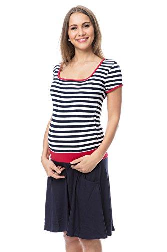 GoFuture Damen Umstandskleid Stillkleid 3in1 PALOMA GF2368 marine-weiß gestreift plus Rot (oben) und Marine (unten)