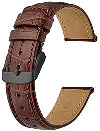 Anbeer Correa de Reloj de Cuero, Correa de Repuesto de Reloj para Hombres y Mujeres con Hebilla Negra, 18mm-Marrón