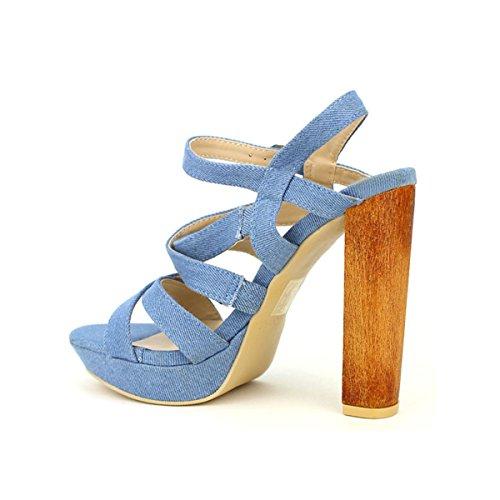 Cendriyon Sandale Blue Jean STOLINE Chaussures Femme Bleu