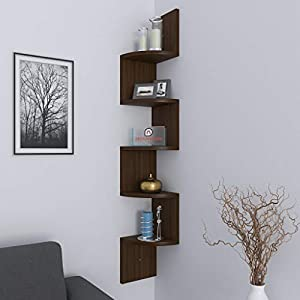 DecorNation Corner Wall Mount Shelf Zigzag Shape, Rich Walnut
