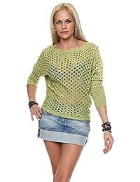 Damen Netz Pullover Sommershirt Tunika Pulli Strickpullover Pullover Neu  AM 308