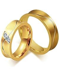 Bishilin 2 PCS Anillo de Acero Inoxidable para Él y Su con Zirconia Ronda AAA Alto Pulido Anillo Oro Promesa para Mujeres Hombres