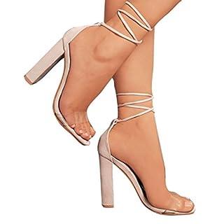 Kootk Damen Absatz Sandalen High Heels Sandaletten Transparent Pumps Abend Sommer Schuhe Lace-Up Damenschuhe Riemchensandalen 10cm Modische Partyschuhe Sommerschuhe Offene Schuhe Beige 40
