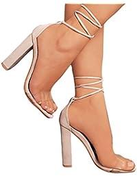 980684ca9ea0 Juleya Damen Schuhe High Heels Sandalen Transparent Sandaletten Sommer  Party Schuhe Riemchensandaletten Peep Toe Pumps Offene