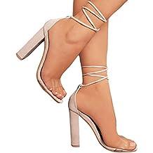 4d7948e13702 Juleya Damen Schuhe High Heels Sandalen Transparent Sandaletten Sommer Party  Schuhe Riemchensandaletten Peep Toe Pumps Offene
