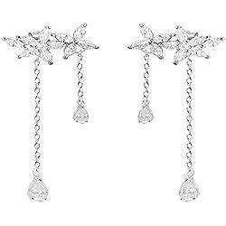 XINSU-earrings Heavy Duty Daisy Flowers Cute Flash Diamond S925 Pendientes de botón de Plata
