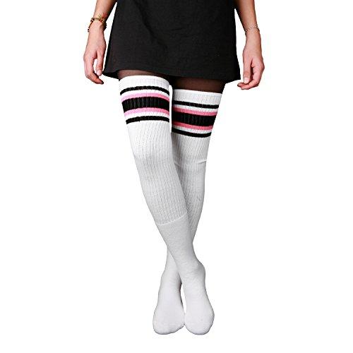 Skatersocks 35 Inch Damen Overknee Socken weiß schwarz pink gestreift oldschool Tube Socken Kniestrümpfe (Old-school-tube-socken)