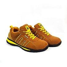 Zapatos de seguridad con puntera de acero para hombre o mujer, piel sintética, Yellow/Camel Suede, 9