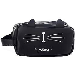 GerTong Estuche de lona simple y creativo, gran capacidad, bonito bolígrafo de papelería para estudiantes, bolsa de regalo, gato negro gato negro 21.5*10.5*8cm